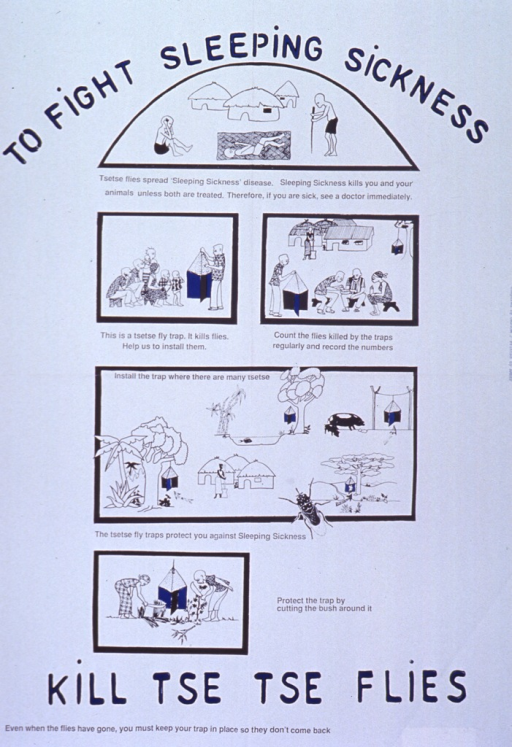 <p>White poster with blue and black lettering.  Title split between top and bottom of poster.  Visual image is a series of five illustrations.  The first deals with sleeping sickness and shows three infirm people.  The other four discuss fly traps and their placement and maintenance--a health educator shows villagers the fly trap, villagers count the dead flies, a village surrounded by traps is free of flies, and two people clear brush away from a trap.</p>