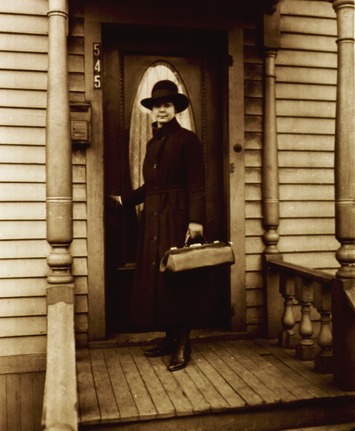 <p>Showing a nurse standing at the front door of a patient's (?) house.</p>