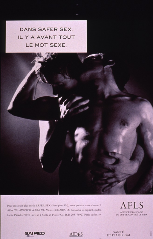 <p>Black and white poster with the photo reproduction showing a male-male couple from the waist up. Neither man is wearing a shirt and they are embracing each other, one standing behind the other. A phone number and address for further information are provided at the bottom of the poster.</p>