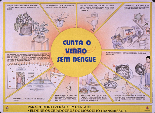 <p>Predominantly yellow poster with blue and black lettering.  Title in center of poster, superimposed on an illustration of a mosquito.  Illustrations surrounding the title depict ways to prevent stagnant water from accumulating including putting sand in vases, cleaning vases between uses, emptying bottles, sending containers to the trash collection and covering trash cans, etc.  Publisher information and caption at bottom of poster.  Caption indicates that to get through the summer without dengue, eliminate the breeding grounds for mosquitos.</p>