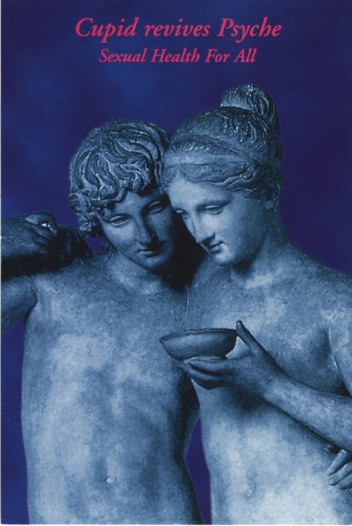 <p>Picture of the nude stone statues of Cupid and Psyche in which Psyche is holding a bowl in her left hand [by Bertel Thorvaldsen].</p>