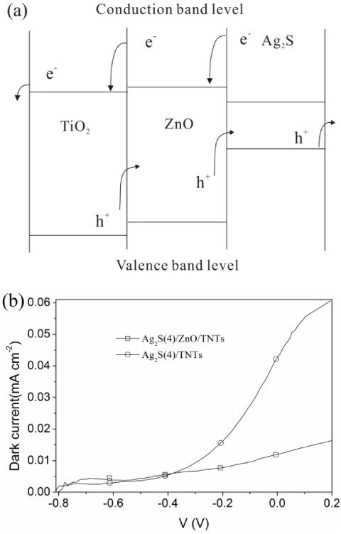 Energy diagram and dark current. (a) Energy diagram of Ag2S-sensitized ZnO/TNT solar cells and (b) the dark current of the Ag2S(4)/ZnO/TNT and Ag2S(4)/TNT electrodes.