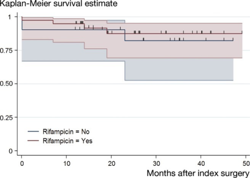 Comparison of Kaplan-Meier survival curves of patients treated for Propionibacterium-associated PJI with and without rifampicin combination therapy. A cumulative success rate of 90% (95% CI: 67–98) and 82% (95% CI: 53–94) was found in patients treated without rifampicin after 1 year and 2 years, respectively. A cumulative success rate of 95% (95% CI: 81–99) after 1 year and 88% (95% CI: 69–95) after 2 year was reached in patients treated with rifampicin. Overall comparison of the cumulative success rates revealed a p-value of 0.7 (log-rank test). The small vertical spikes represent the censored data.