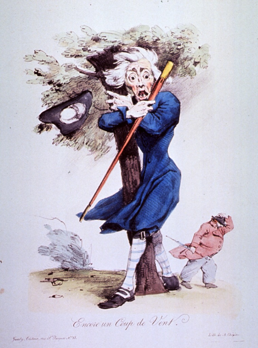 <p>A man clutching a tree during a strong wind, which has blown his hat away.  In the background, a man struggles against the wind.</p>