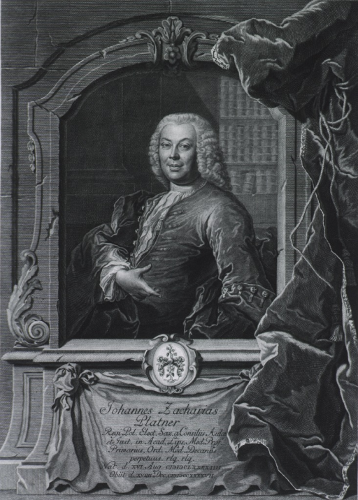 <p>Half length, full face, wearing wig; hand extended; in frame, large curtain at side, coat-of-arms beneath print.</p>