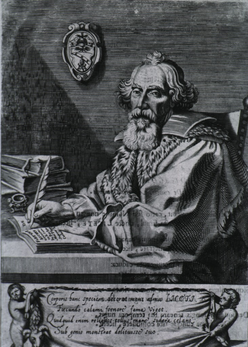 <p>Half-length, seated at table, left pose, full face; writing in book with quill pen; other books on table; coat-of-arms.</p>
