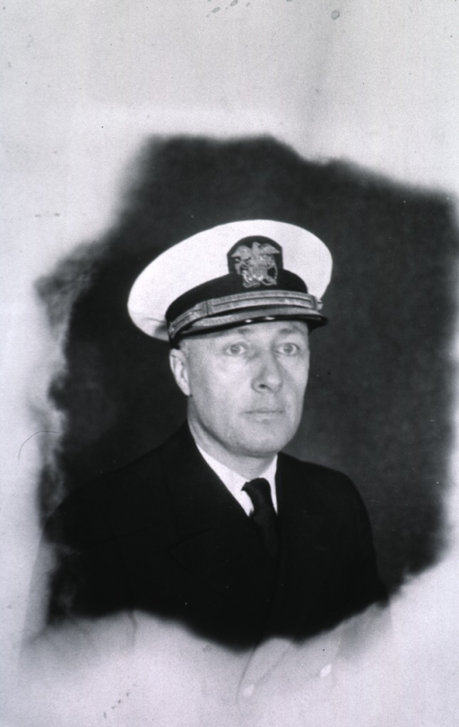 <p>Head and shoulders, full face, USPHS uniform and white cap.</p>