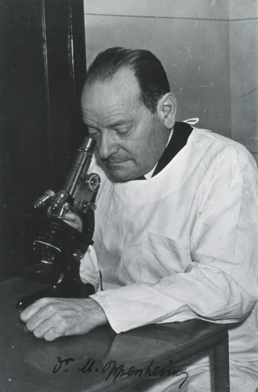 <p>Dr. Oppenheim looking through microscope.</p>