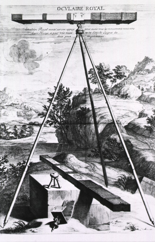 <p>An optical device mounted on a tripod set against a landscape scene.</p>