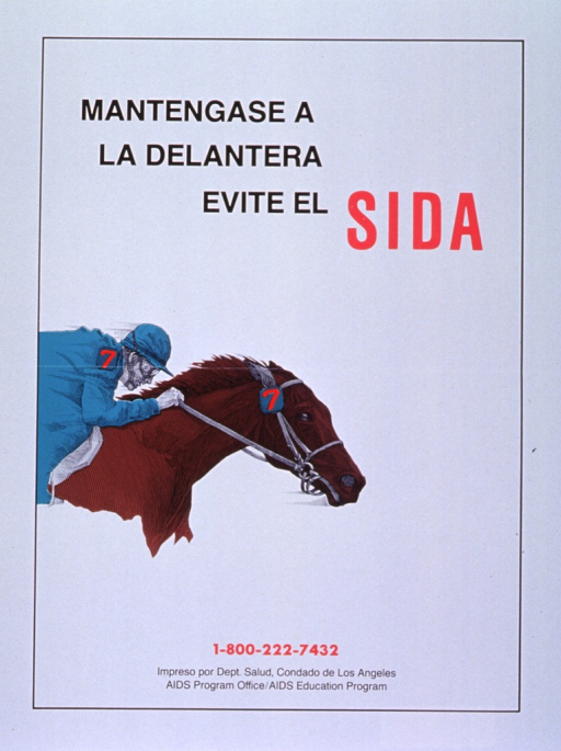 <p>White poster with black and red lettering.  Title at top of poster.  Visual image is an illustration of a jockey atop a race horse.  Illustration suggests that the horse is moving.  Publisher information at bottom of poster.</p>
