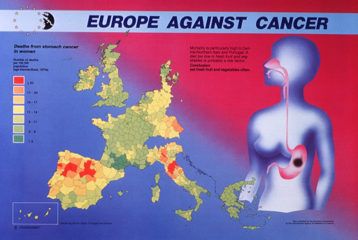 <p>Multicolor poster with blue and black lettering.  Title at top of poster.  Visual images are a map of European Community member countries showing deaths from stomach cancer in women and an abstract human figure with a dark circle representing stomach cancer.  Death rates are highest in parts of Italy, Spain, and Portugal.  Additional text suggests that a diet low in fresh fruits and vegetables may be a risk factor for stomach cancer.  Publisher information in lower left corner.</p>