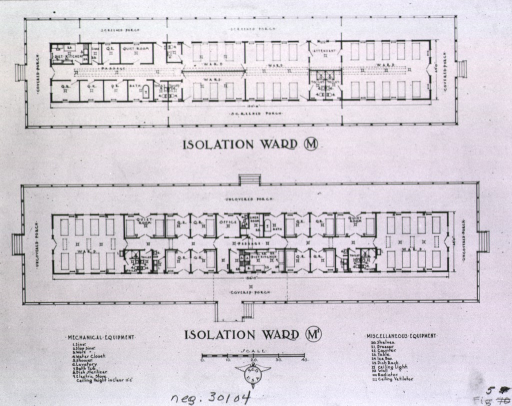 <p>Plans for an isolation ward M and M1 include mechanical equipment and miscellaneous equipment.</p>
