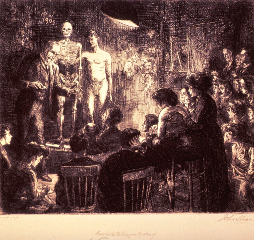 <p>Interior view of a crowded lecture room; a man is lecturing, on the podium next to him, for comparative analysis, are a skeleton and a nude man.</p>