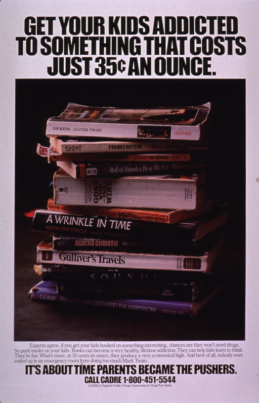 <p>Multicolor poster with black lettering.  Title at top of poster.  Visual image is a color photo reproduction featuring a stack of books, many of which are considered classics.  Caption below photo encourages reading.  Note and publisher information below caption.</p>