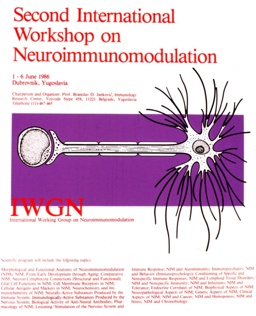 <p>White poster with red lettering and a wide strip of purple across the middle.  The purple strip has a model of what may be a neurotransmitter.  The remainder of the poster lists the chairperson, Prof. Bransilav D. Jankovic, his affiliation with the Immunology Research Center in Belgrade, and the topics to be included in the workshop.</p>
