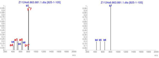 Spectra samples from tryptic digested protein FucT VII. Spectra (m/z vs. normalized intensity) illustrating the confirmatory matches (whose intensity values were at least 10% of the maximum intensity) found for the disulfide bond between cysteines C318-C321 in protein FucT VII. The spectrum in the left shows the matches found when multiple ions were considered. The spectrum in the right shows the matches when only b/y-ions were considered.