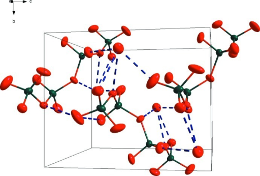 Hydrogen bonding framework within the unit cell of the compound. See Fig. 1 for legend.