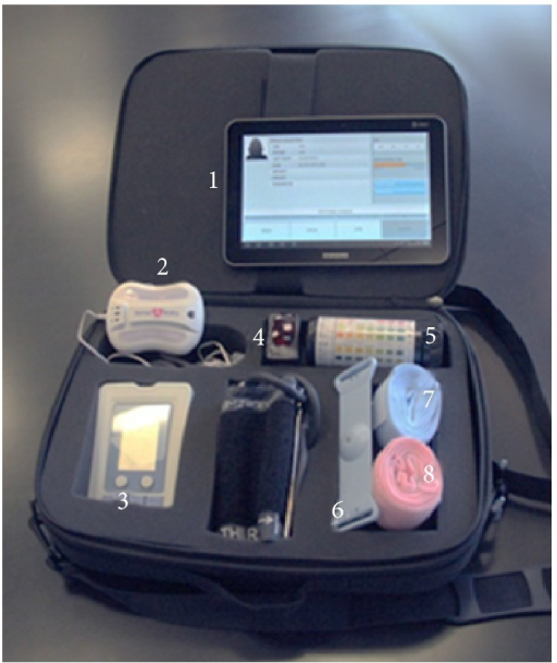 MiBebe fetal remote monitoring kit prototype technology with components as deployed in YUC, Mexico: (1) tablet/phone with fetal monitoring app; (2) fetal monitoring central unit; (3) FORA (blood pressure and glucometer); (4) pulse oximeter; (5) urine strips; (6) Toco; (7) elastic strap for central unit; (8) elastic strap for Toco.