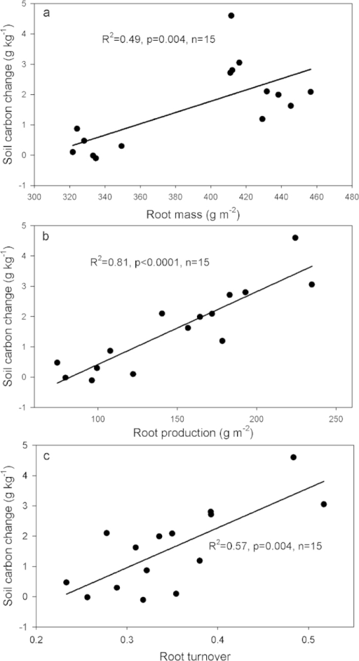 The relationship between soil organic carbon change in the top 10 cm soil with belowground root mass measured in August (a) root production (b) and root turnover rate (c). Linear relationship for (a) (b) and (c).