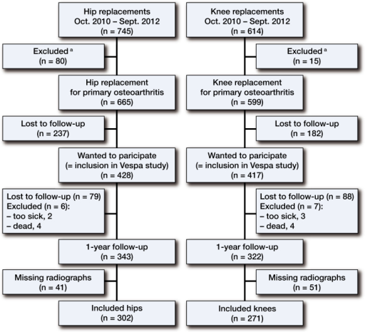 Flow diagram. aReasons for exclusion were patients who did not understand Dutch or were physically or mentally unable to complete questionnaires, patients with revision surgery, undergoing a hemi-arthroplasty, or undergoing THA or TKA because of a tumor or rheumatoid arthritis.