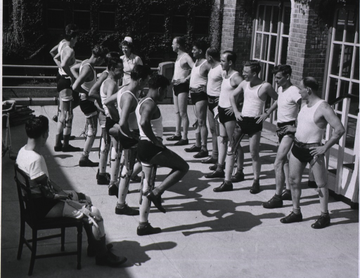 <p>Amputees doing calisthenics.</p>