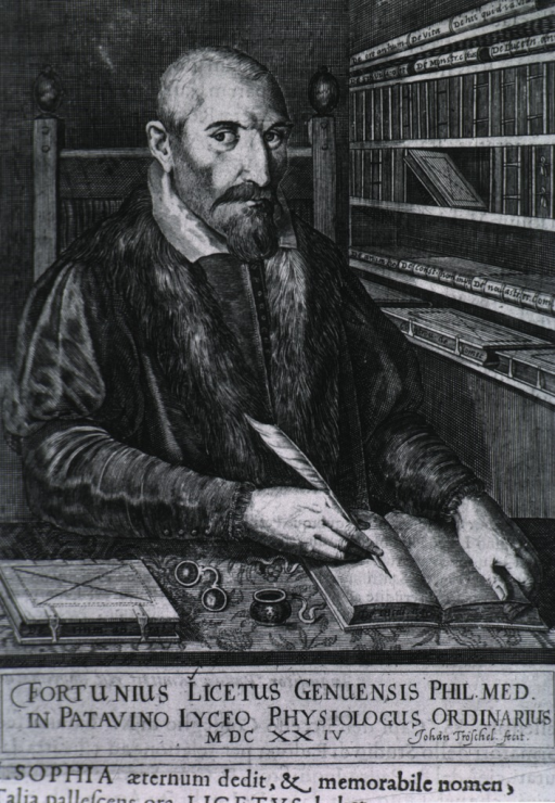 <p>Half-length, seated at table, right pose, full face; writing in book with quill pen; glasses and book on table; bookshelves to the right in background.</p>