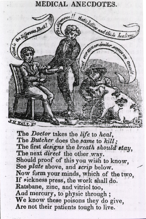 <p>Pro-Thomsonian cartoon on bloodletting showing a patient and a farm boy's pig being bled.  Poem below.</p>