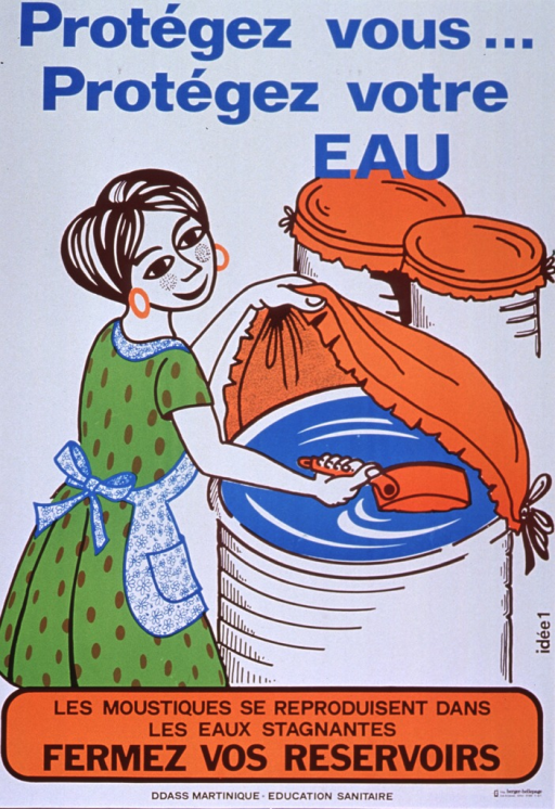 <p>White poster with blue and brown lettering.  Title at top of poster.  Visual image is an illustration of a woman drawing water from a barrel.  She has lifted a cover to get to the water and two nearby barrels are also covered.</p>