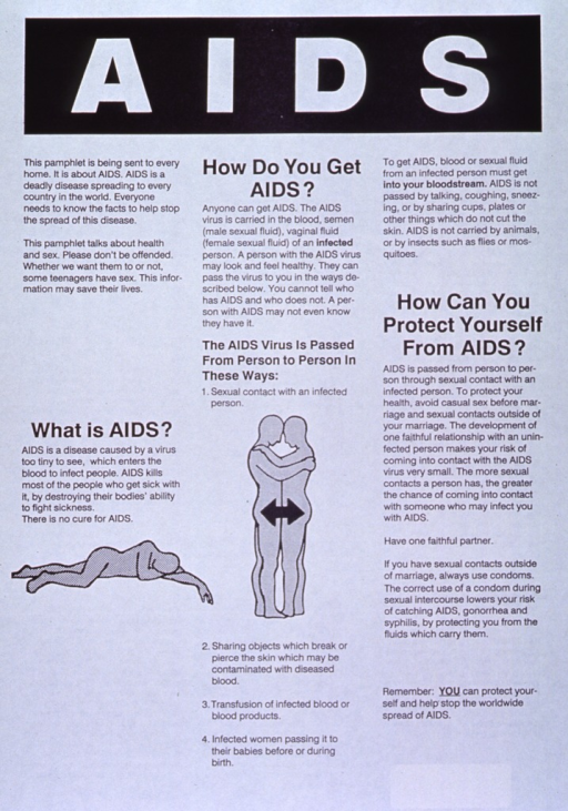 <p>Black and white poster.  Title at top of poster.  Poster dominated by text explaining AIDS, how it is and is not transmitted, and steps to prevent the disease.  Visual images are silhouettes of people, one dead and prostrate on the ground, and two standing in a sexual embrace.  Verso of poster appears to present the same information in Maori.</p>