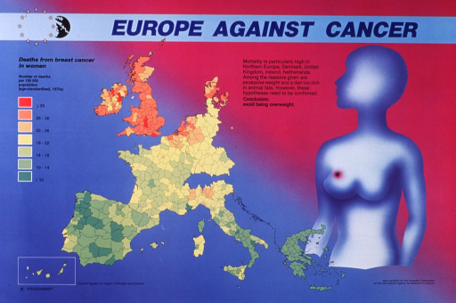 <p>Multicolor poster with blue and black lettering.  Title at top of poster.  Visual images are a map of European Community member countries showing death rates from breast cancer in women and an abstract human figure with a dark circle representing cancer on the breast.  Death rates are highest in the UK, Denmark, and the Netherlands.  Additional text suggests that being overweight and a diet rich in animal fats may be risk factors for breast cancer.  Publisher information in lower left corner.</p>