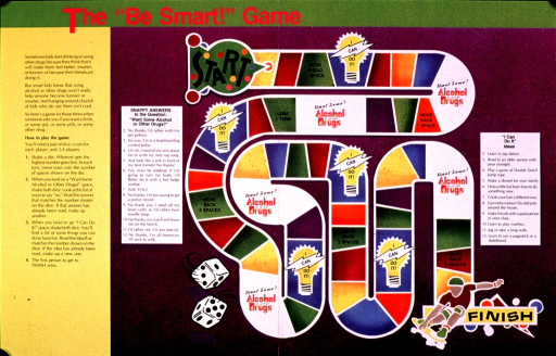 <p>Multicolor poster.  Title at top of poster.  Lengthy text on left side of poster explains game rules.  Game focuses on ways to refuse offers of alcohol or drugs and suggests alternative activities.  Visual images are a gameboard and illustrations of dice and a skateboarder.</p>