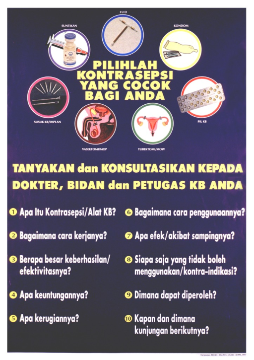 <p>Blue poster with white and yellow lettering.  Title near top of poster, amid illustrations of contraceptive methods including injection, IUD, condoms, pills, tubal ligation, vasectomy, and implants.  Caption below illustrations.  Lower portion of poster dominated by ten questions, apparently about birth control.  Publisher and sponsor information in lower right corner.</p>