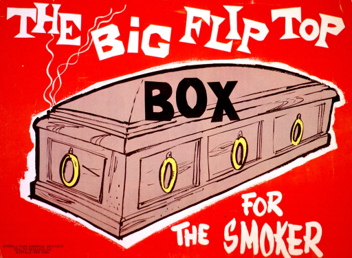<p>Red poster with a tan coffin in the center. The title is in large white letters above and below the coffin, with the word &quot;box&quot; from the title is in black across the top of the coffin.</p>
