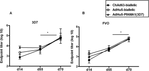 Antibody responses in mice induced by the mono-allelic and bi-allelic PfAMA1 vaccine constructs.6 week old female BALB/c mice (n = 6) were primed with 1×109 vp of each of the adenovirus constructs i) ChAd63-biallelic, ii) AdHu5-biallelic and iii) AdHu5-PfAMA1 (3D7). Groups i) and ii) were boosted at day 56 with 1×107 pfu of MVA-biallelic and group iii) was boosted with the mono-allelic MVA-PfAMA1 (3D7). The total IgG response was measured by ELISA in the serum at day 14, 55 and 70 against both the 3D7 (A) and FVO (B) alleles. The median and the range of the endpoint titer (log 10) are shown in the figure. There were significant differences between the ELISA titres at day 14 by one-way ANOVA: 3D7 PfAMA1 ChAd63-biallelic versus AdHu5-monoallelic P <0.001; FVO PfAMA1 ChAd63-biallelic versus AdHu5-biallelic P <0.05. The MVA boost significantly increased IgG titres against both alleles in all groups (* P <0.05 by Wilcoxon signed rank test).