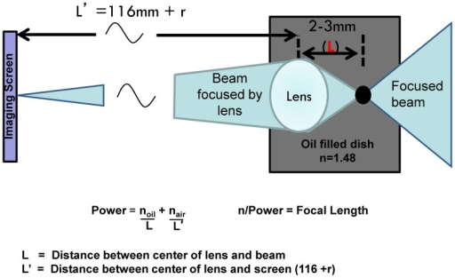Focal length measurements setup.A collimated red HeNe laser beam 10 mm in diameter is focused by a long working distance objective lens (Mitutoyo, 40x) positioned on a graduated translational stage (±0.05 mm) such that the focus point can be moved relative to the lens until it produces a focus point on a screen 116 mm from the bottom of the dish. The power and focal length of the lens can be calculated using the formulas shown.