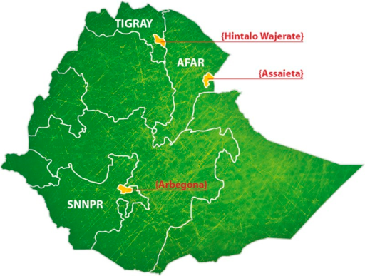 Map of Ethiopia indicating the location of each of the three woredas surveyed. This included Hintalo Wajerate woreda, Tigray Region; Arbegona woreda, Southern Nations, Nationalities, and Peoples' Region (SNNPR); and Assaieta woreda, Afar Region.