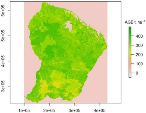 Map of AGB (Mg.ha-1) in French Guiana based on the complete model (KR).Local darker or paler areas correspond to spatial error terms that can be modelled only within a short distance of the calibration plots and are  over most of the area.