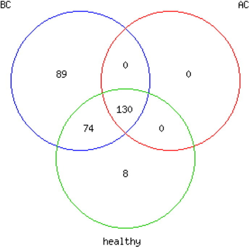 Higher number of detected microRNAs in patients' sera before chemotherapy. VENN diagram presenting numbers of detected miRNAs in serum from healthy donors (healthy), patients before (BC) and after chemotherapy (AC). Total gene intensities were filtered for miRNAs with median expression ≠ 0.1 over all donors. Exclusively in healthy donors detected miRNAs (8) were either detected with low signal intensities (< 10) or characterized as viral RNAs (HSV and KSHV).
