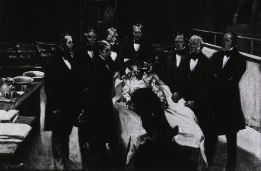 <p>The first public demonstration of surgical anesthesia at Mass. Gen'l Hospital, ...l. to r.: H.J. Bigelow, [A.A. Gould], J. Mason Warren, John Collins Warren, W.T.G. Morton, [patient], [S. Parkman], S.D. Townsend, C.F. Hayward.</p>
