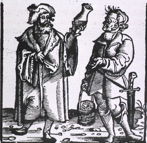 <p>A physician is holding up a urine flask for analysis; next to him is a man wearing a sword and carrying the container for the flask.</p>