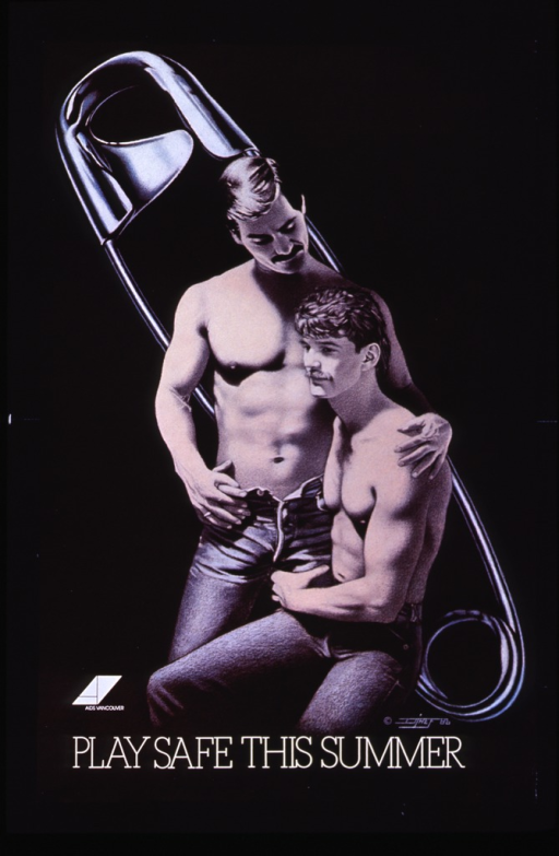 <p>Predominantly black poster with white lettering.  Visual image dominates poster.  Image is a color illustration in which two men pose with a safety pin in the background.  One man stands, with his jeans unbuttoned, and puts his arm around the shoulders of the other man, who is seated.  Publisher information to left of illustration.  Illegible artist's signature to right of illustration.  Title at bottom of poster.</p>