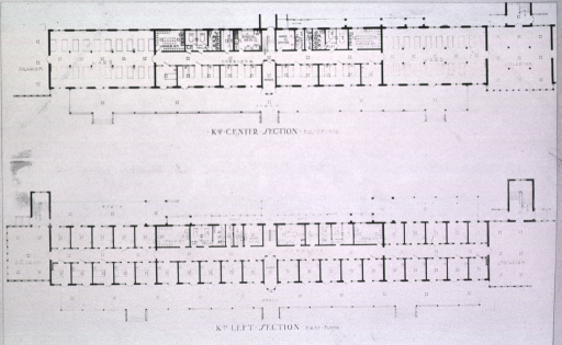 <p>Plans for the left and center first floor sections of a ward (K103).</p>