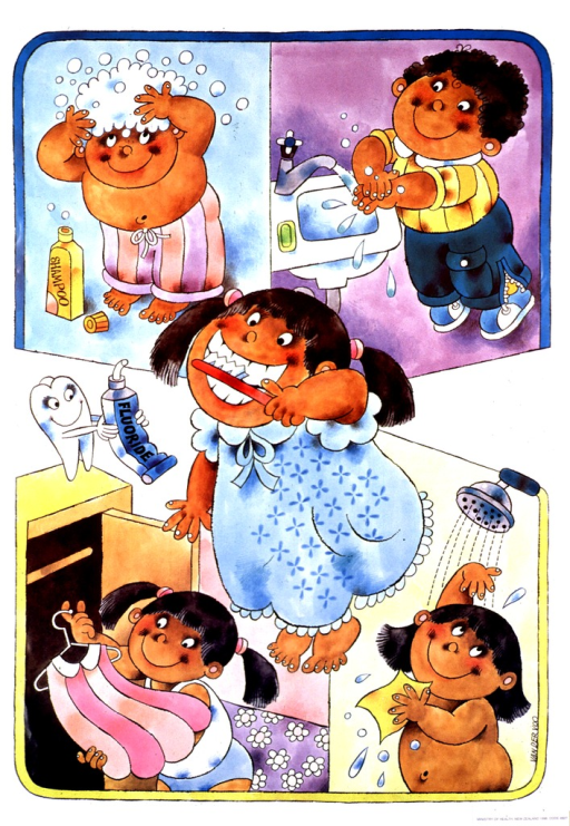 <p>Textless, multicolor poster.  Illustrations show young children performing personal hygiene tasks, including shampooing hair, washing hands, brushing teeth, showering, and getting dressed.  Publisher information in lower right corner.</p>
