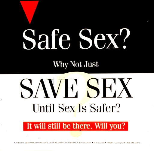 <p>Black and white poster with red and yellow highlights.  Poster is all text except for a red triangle in the upper left corner.  Final title phrase and note superimposed on an oversize question mark.  Publisher information at bottom of poster.</p>