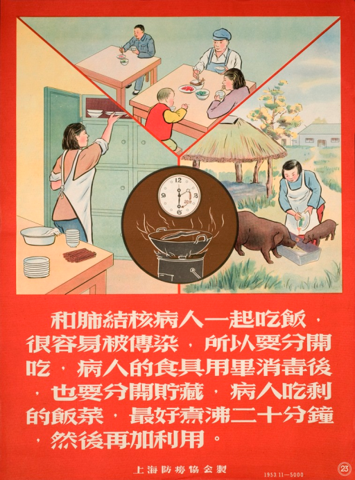 <p>The poster has four images. The top image shows a man sick with TB eating at a separate table from other people. The image on the left shows a women putting away clean dishes. The round image in the center shows a clock and a steaming pot. The image on the right shows a woman feeding pigs. Below the images, white text on red background explains that a person with TB must eat separately, that his dishes have to be disinfected and stored separately, and that any food left on his plate must be boiled for 20 minutes before being used for something else.</p>