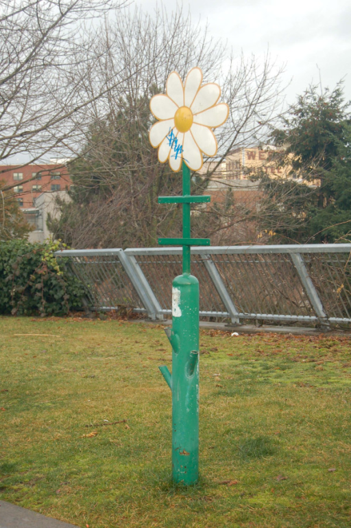 Daisy receptacle. A repository for used syringes installed in a Vancouver park.