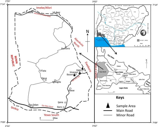 Map Of Yewa North Showing Study Area Source Ministry Of Lands Surveys And