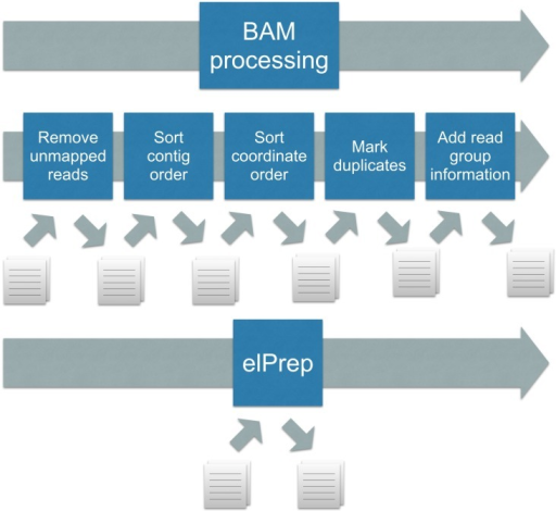 BAM processing: standard practice (top) versus elPrep (bottom).The standard practice is calling a (different) preparation tool for each step, which leads to repeated file I/O, as well as repeated traversal of the same SAM file. To use elPrep, one instead issues a single command that lists the preparation steps to be applied to a SAM file. elPrep internally combines the execution of the different preparation steps, resulting in a single pass over the SAM file, and avoiding repetitive file I/O.