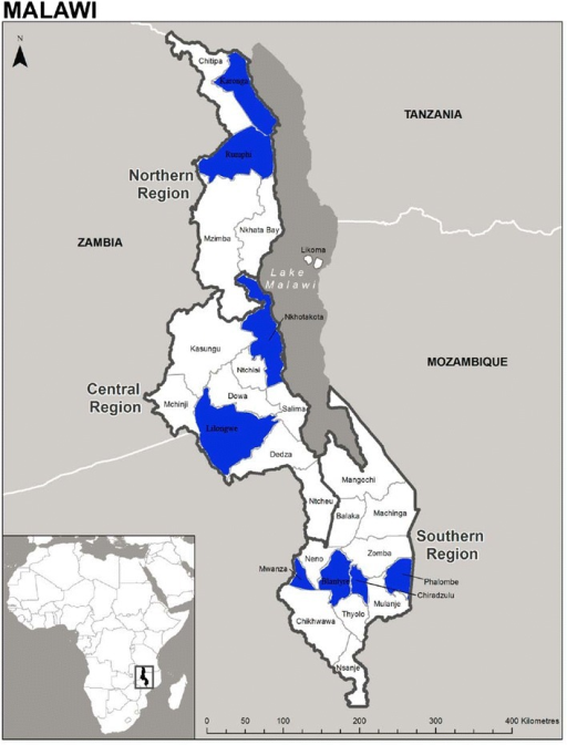 Map of Malawi showing eight survey districts