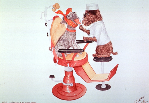<p>Caricature:  A dog sitting on a stool examines the teeth of a dog sitting in the dental chair.</p>
